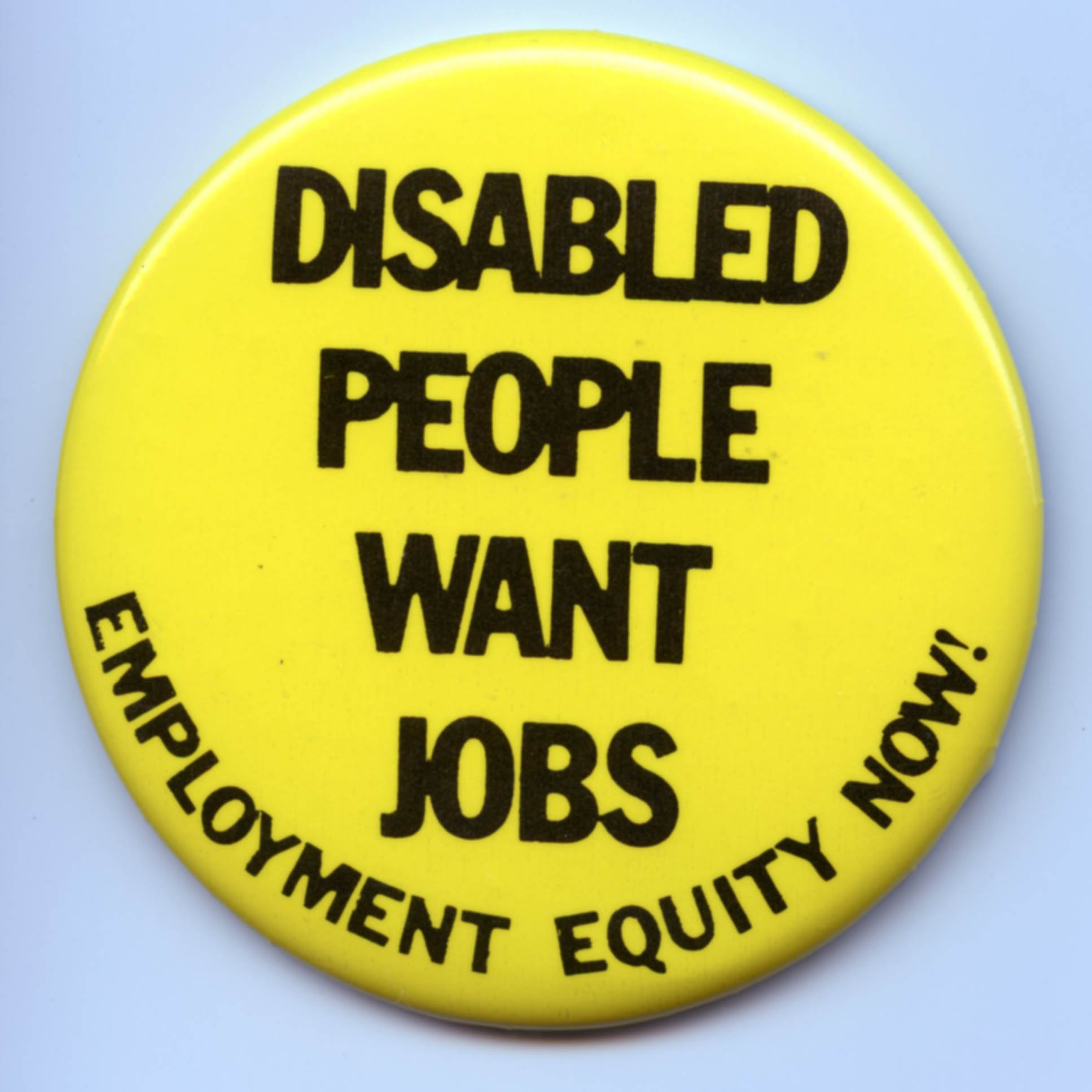 A yellow button reading 'people want jobs: employment equity now!